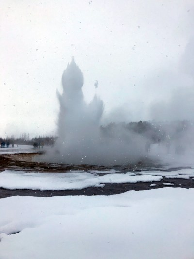 The great geyser erupts