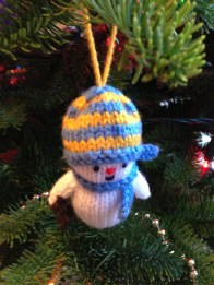 Another of Mum's handmade creations - a knitted snowman