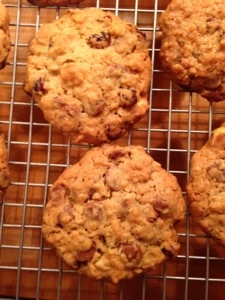 Cranberry, hazelnut and chocolate biscuits