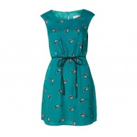 Bird patterned turquoise dress