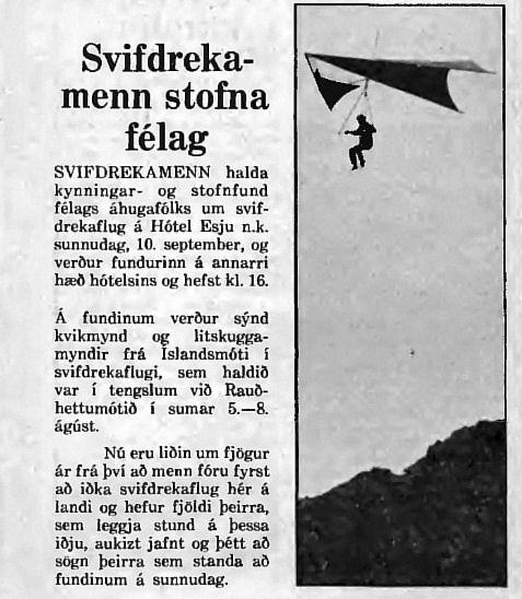 Kynning á stofnfundi Svifdrekafélags Reykjavíkur