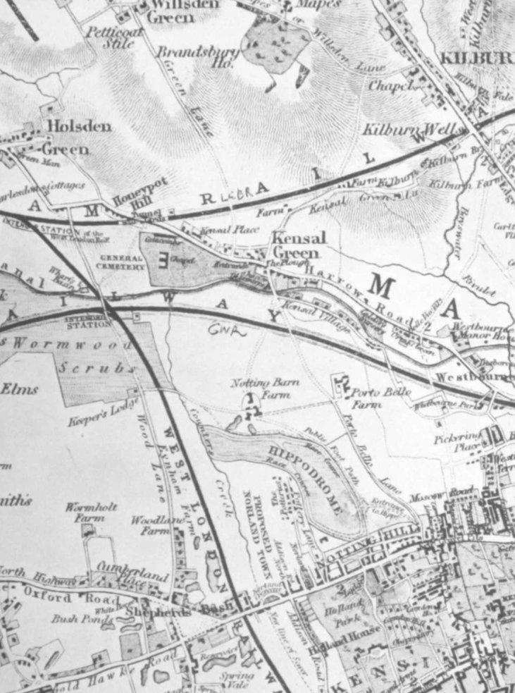 B. R. Davies-Kensington Map-1841-pottery lane-slumsy