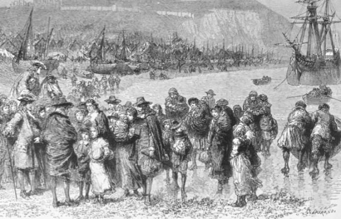 Huguenots-arriving-at-Dover-1685-imigracja-hugenocka-do-Londynu