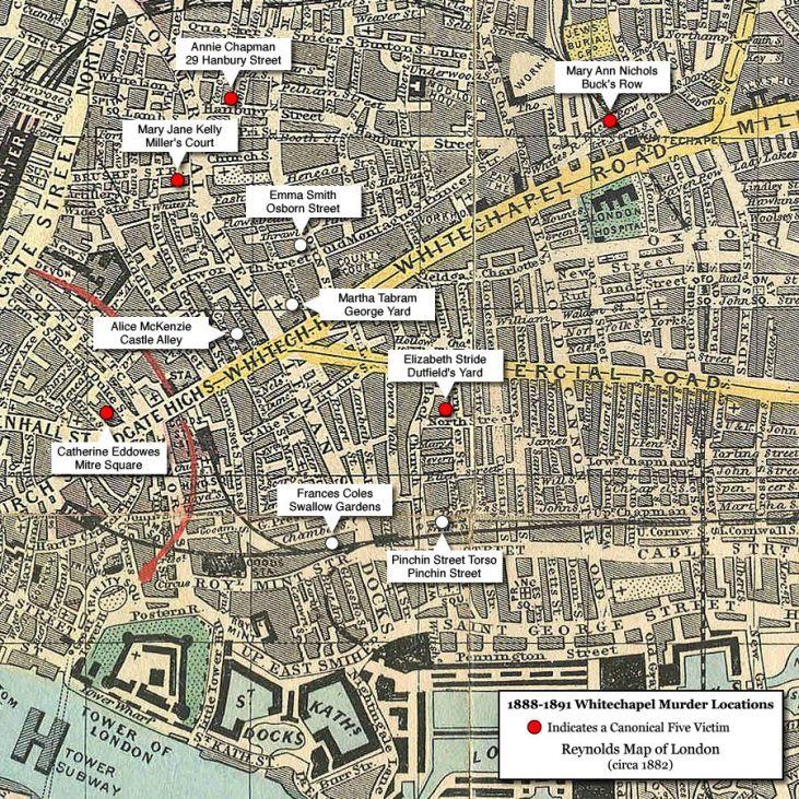 lokalizacje-morderstw-z-Whitechapel-mapa-Kuba-Rozpruwacz-Londyn