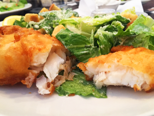 flaky light fish and salad