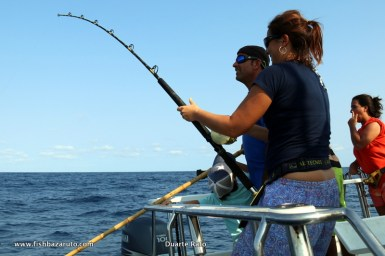 Susana bringing in yet another Yellowfin Tuna. She took to it like a champ and natural!!!