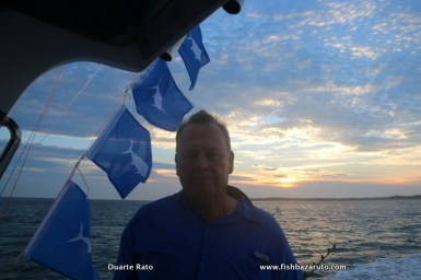 Ian Du Plessis with four Blue Marlin Flags aboard FOURPLAY. On this specific day we raised 10 Blues, had 8 bites, 6 hookups' and released 4 to 600 pounds.