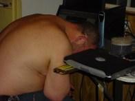 Michael Mark Sleep on Laptop