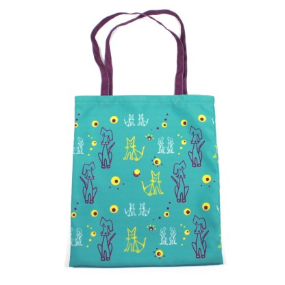 голубая сумка с котами и собаками фишкард fishcard shopping bag with cats and dogs