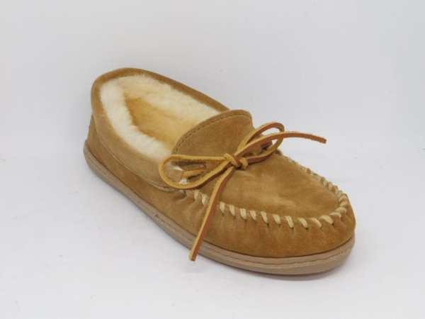 womens slippers sheepskin hardsole tan 3341