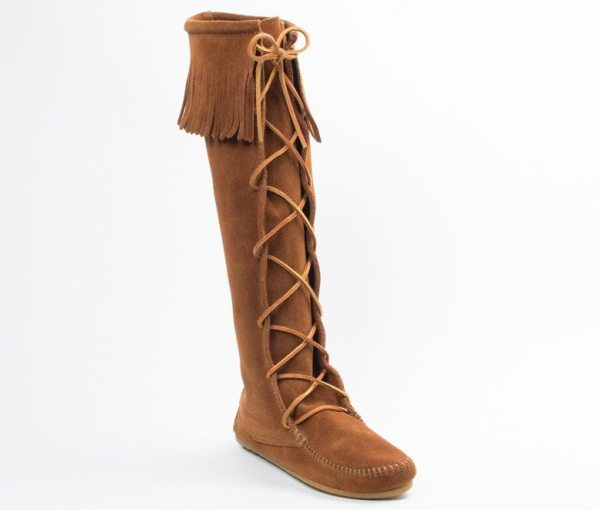 womens boots laced knee hi brown 1422