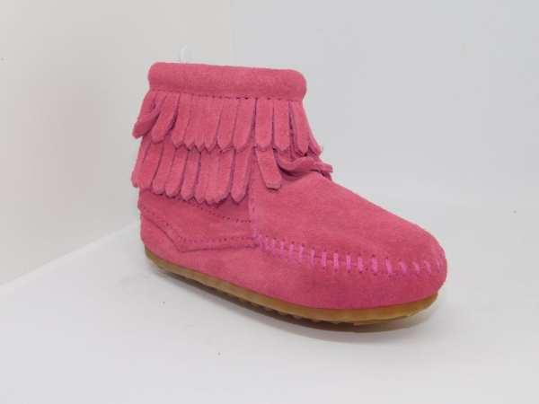 double fringe side zip boot pink