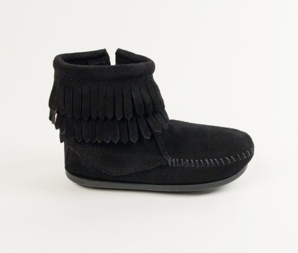 kids boots double fringe zip black 2299