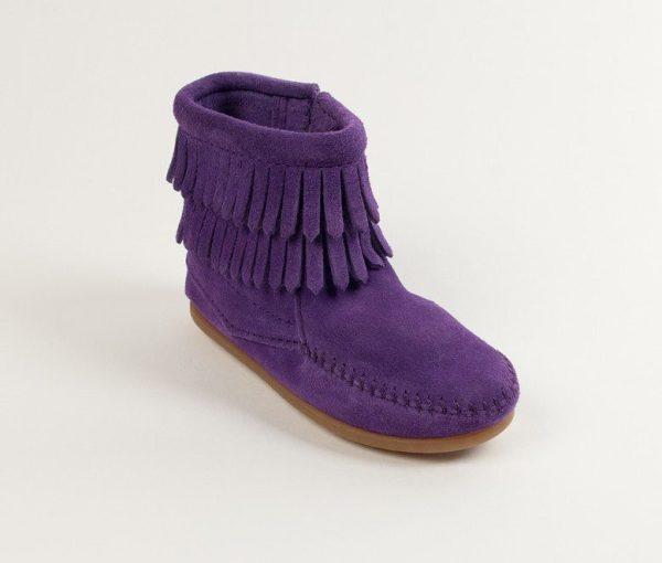 kids boots double fringe zip purple 2294s