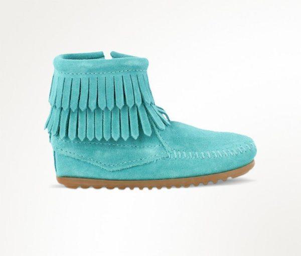 kids boots double fringe zip turquoise 2296
