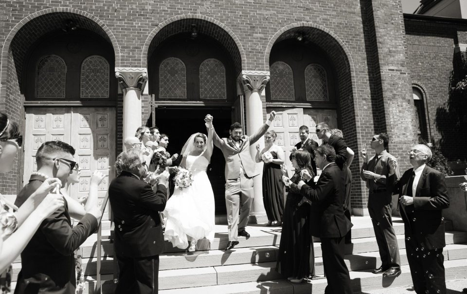 bride and groom fci photography church exit buffalo