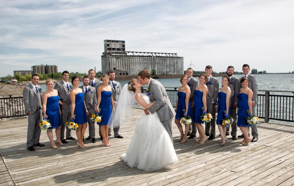 bride and groom fci photography outer harbor wedding party