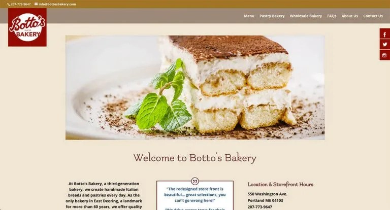bottosbakery.com homepage