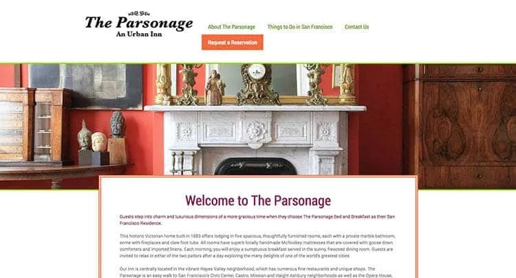 The Parsonage website homepage