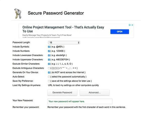 strong password generator homepage