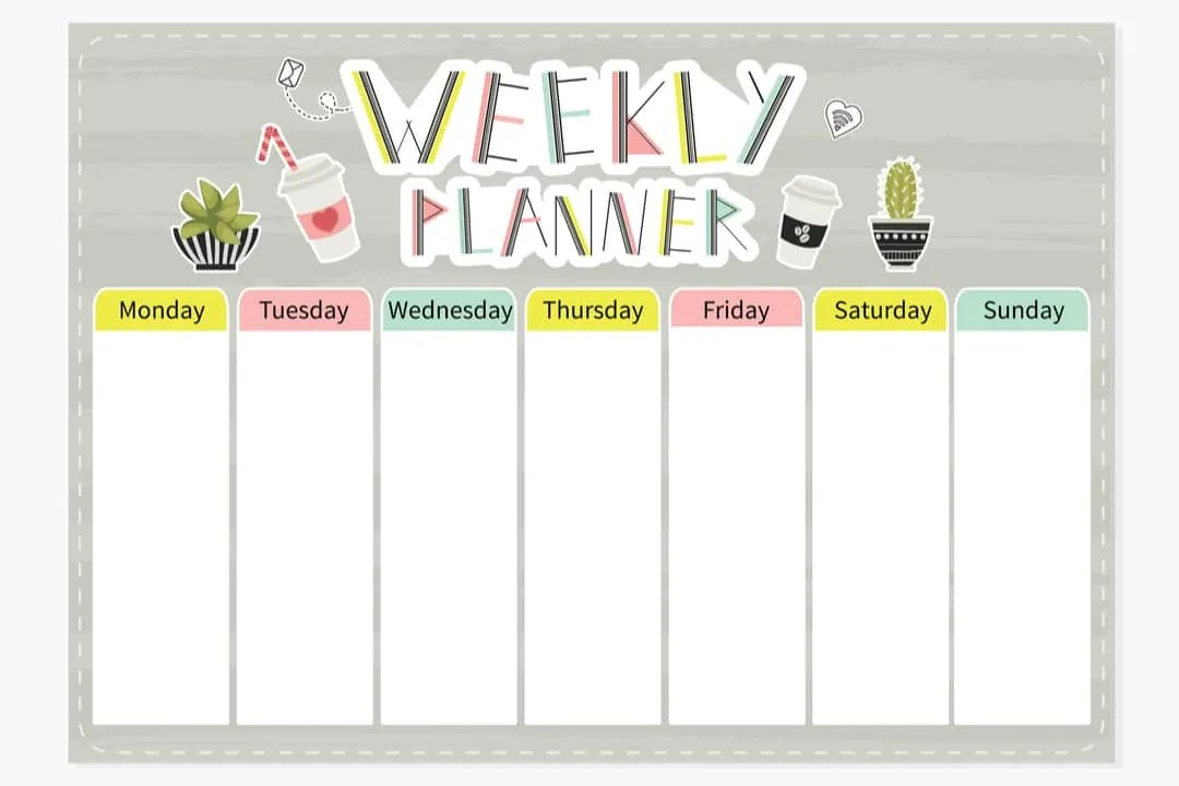 Strategic Social Media Content Calendar for Marketing Graphic for Weekly Planner