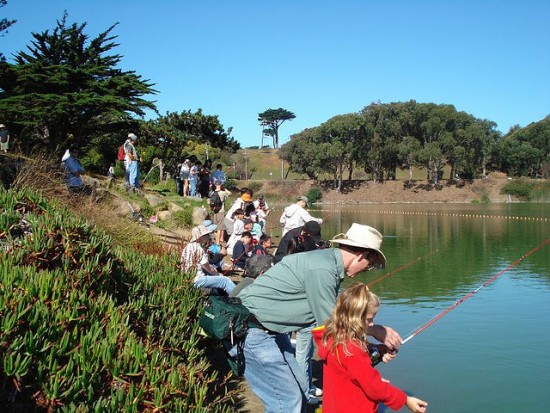 Photo of American Fisheries Society members fishing at an event
