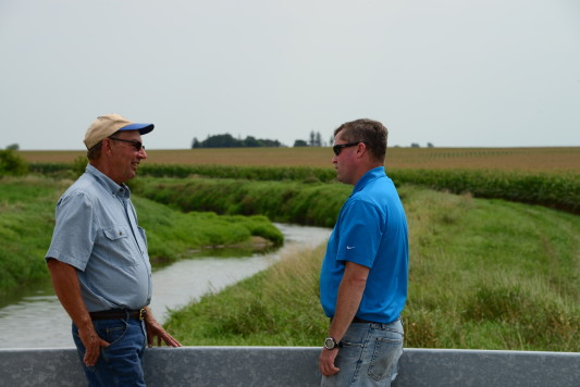 Livingston County SWCD director Terry Bachtold and project director Chad Watts, CTIC, at Indian Creek
