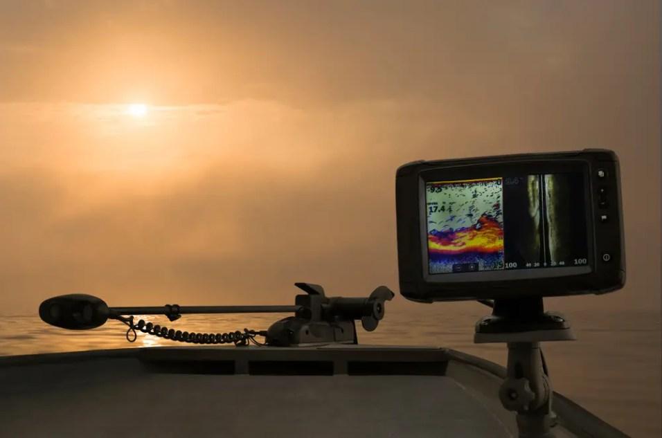 Fishfinder, echolot, fishing sonar at the boat