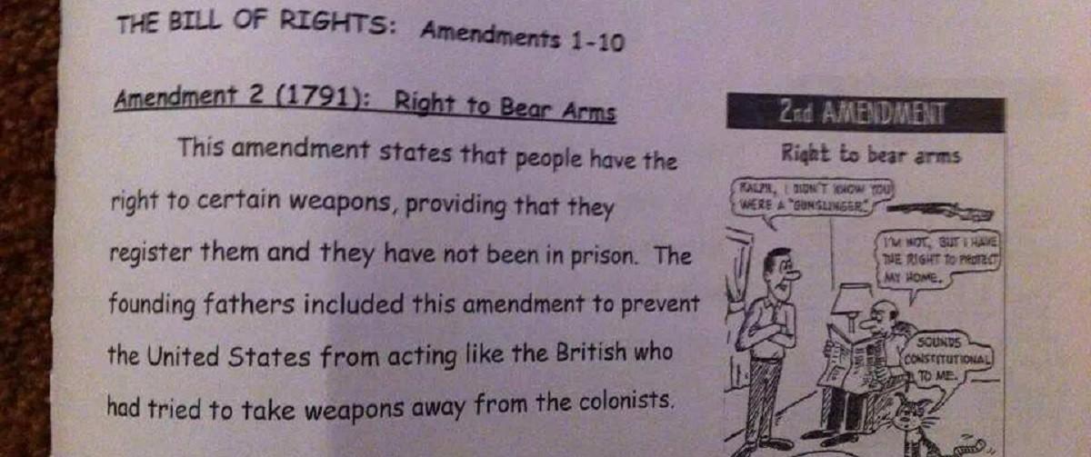 Workbook teaches kids that Second Amendment includes gun control