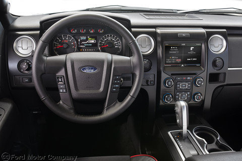 Red-stitched steering wheel on interior of Tremor