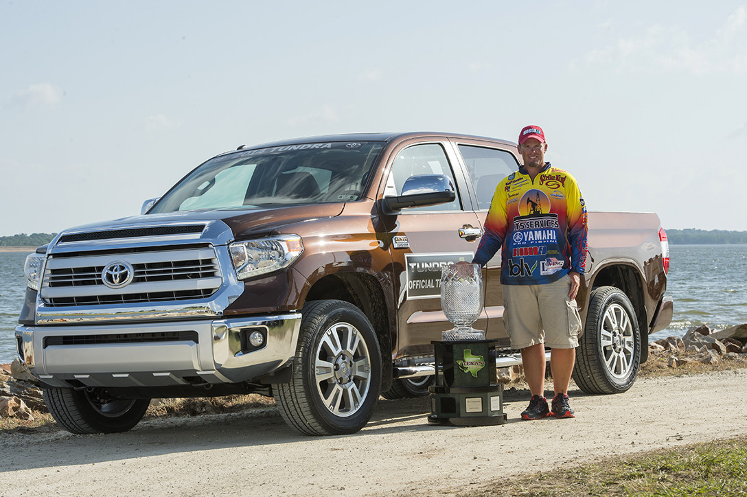 Keith Combs of Huntington, TX with trophy and Toyota Tundra
