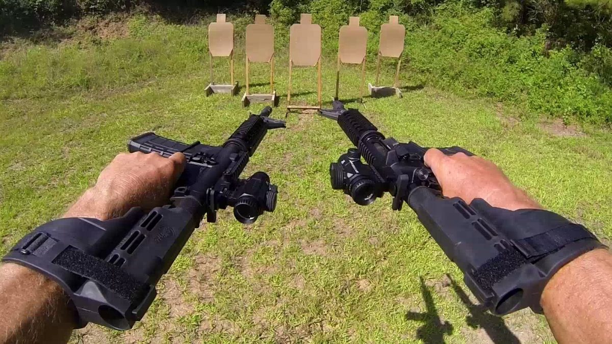 Champion Shooter Jerry Miculek Dual Wields AR-15 Pistols Gangster Style w/ 100% Hits! (Video)