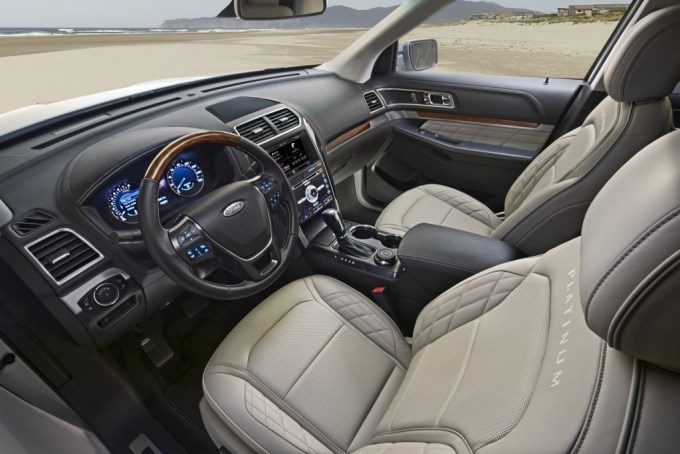 New 2016 Ford Explorer Platinum series interior in Medium Soft Ceramic (interior)