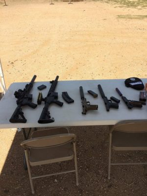 The impressive line-up of firearms available at the media range event from Silencer Shop.