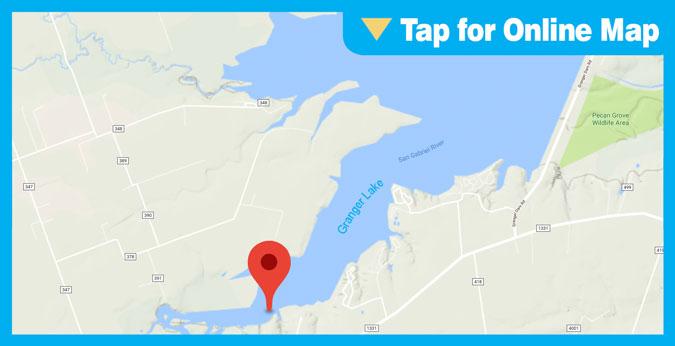 Granger Lake: Standing Timber and San Gabriel River