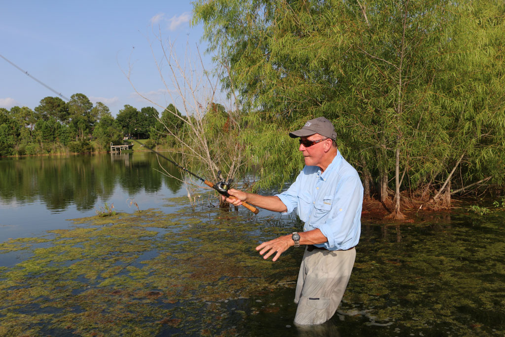 Wading is a good way for the bass angler to work beyond shoreline rims of grass or brush and reach open water.