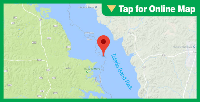 """Lake Toledo Bend HOTSPOT: """"Fisherman's Wharf"""" River Ledge/Bar"""