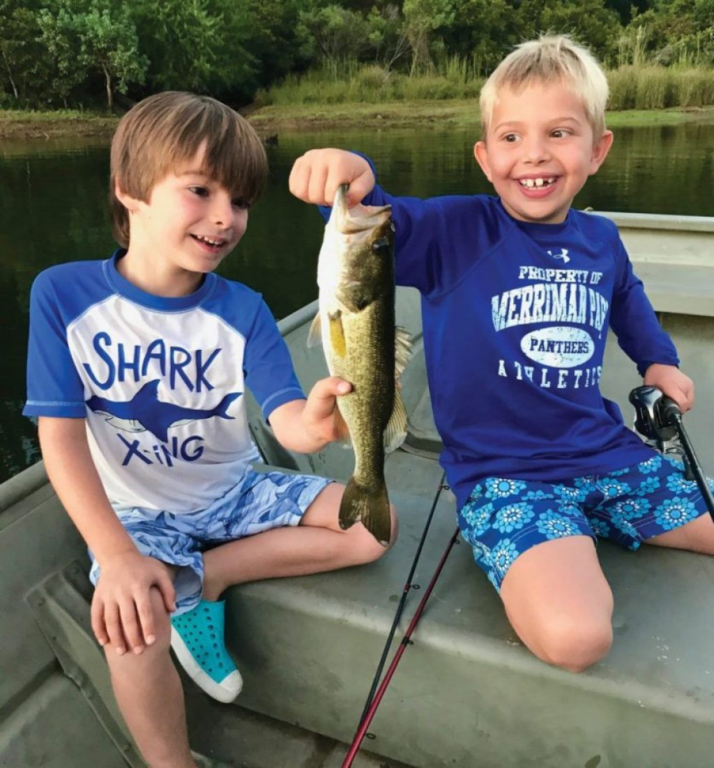 Rylan Grates (L) and Anderson Casey (R), both of Lake Highlands, Dallas, worked together to maneuver and position the boat, cast, reel and land this nice bass on private water south of Athens. They worked well together and a lifelong fishing bond was made.