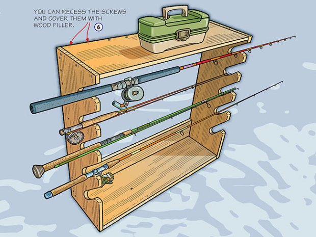 Build a homemade fishing rod rack fishing by boys 39 life for Wall fishing pole holder