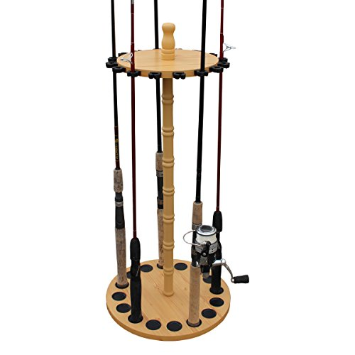 Rush Creek Creations Round 16 Fishing Rod Storage Rack - Features Traditional Handcrafted Wood Post - No Tool Assembly