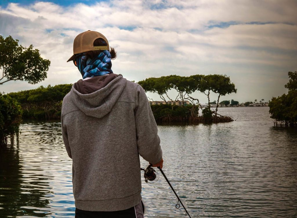 An angler fishing in the inshore waters