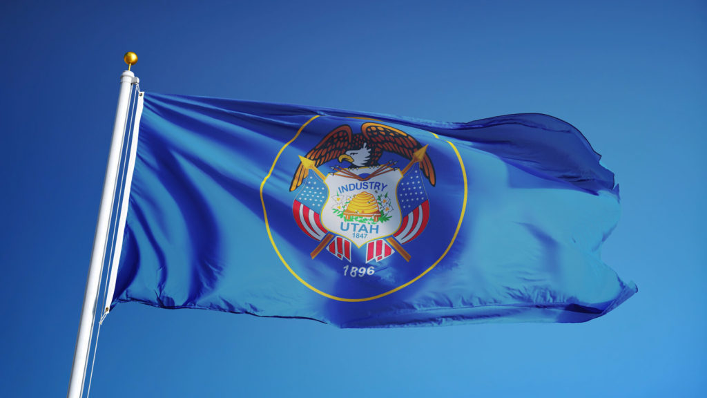 The flag of Utah in the wind.