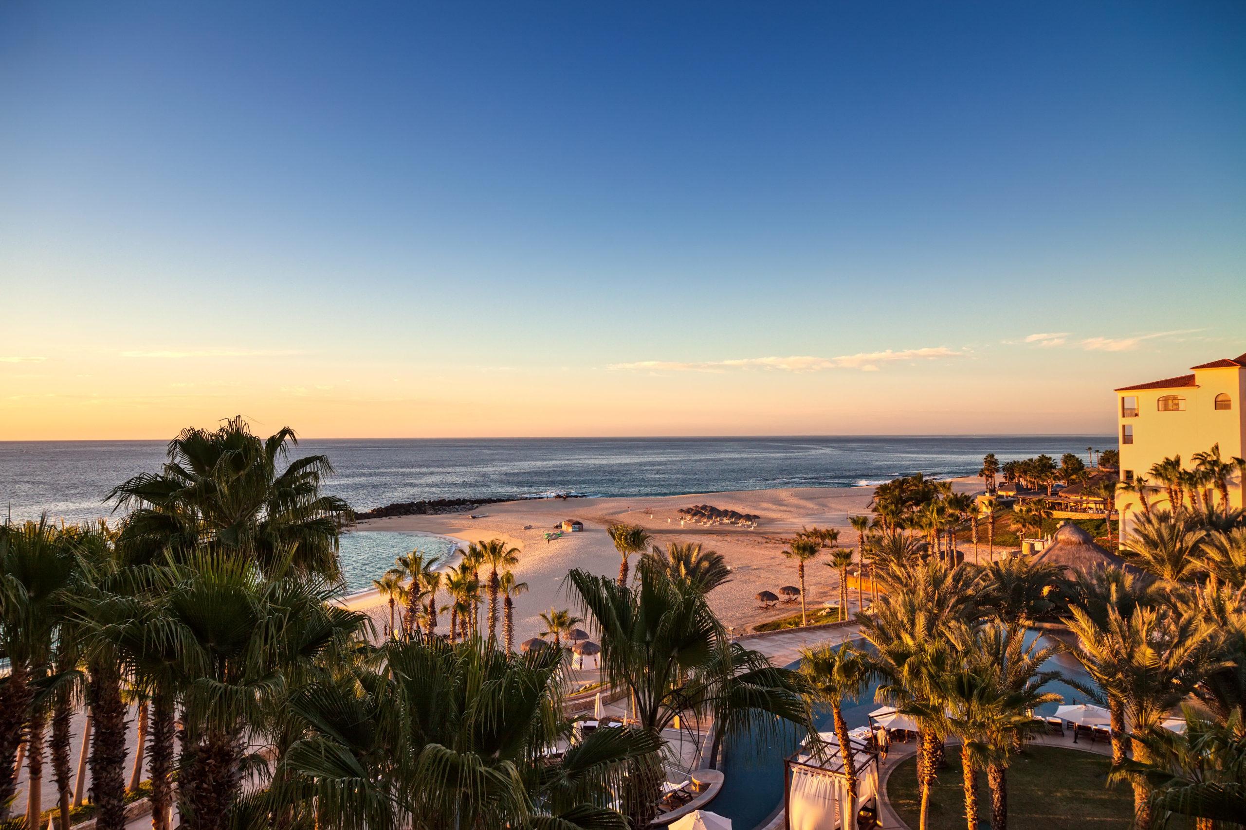 A view across the beach towards the sea in Cabo San Lucas