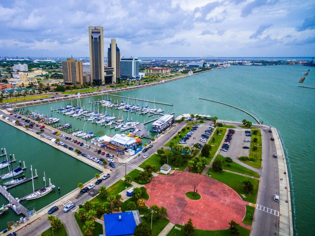 Aerial view of the City Harbor in Corpus Christi