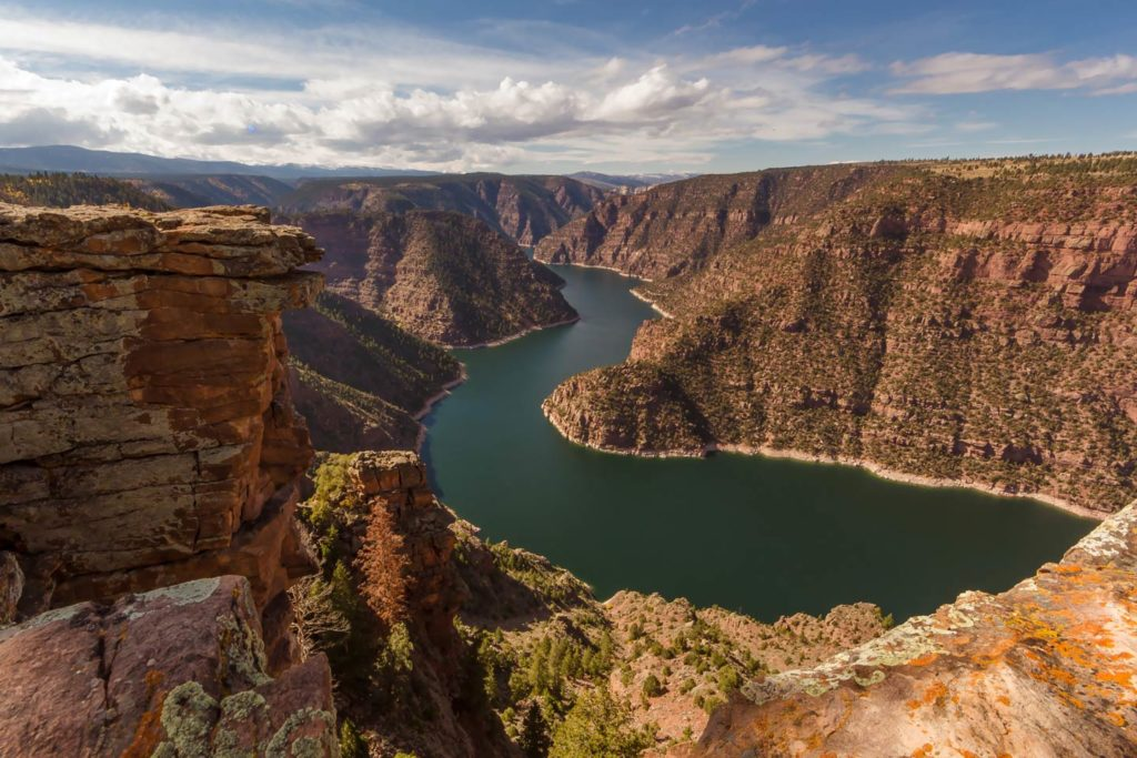 Flaming Gorge, Utah as seen from above.