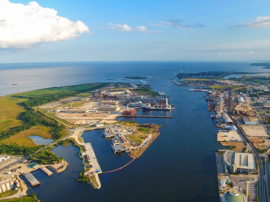 Aerial view of the Port of Mobile, Alabama
