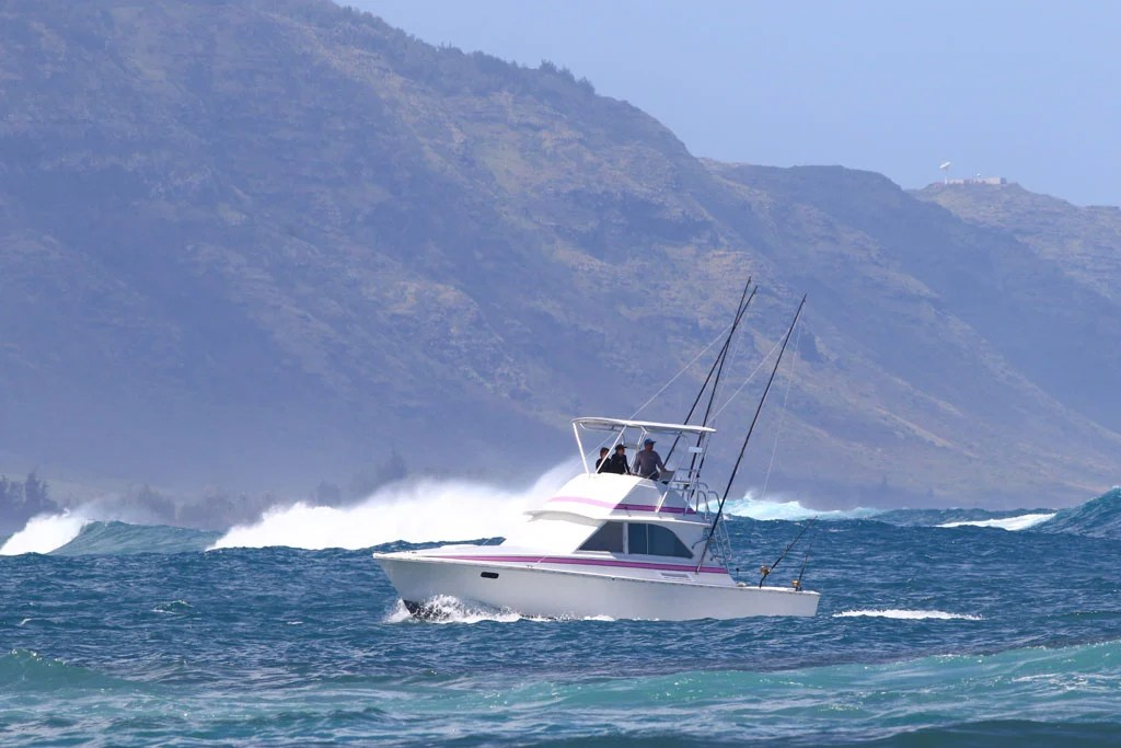 Charter boat trolling in the water, with waves and mountainous landscape in the background