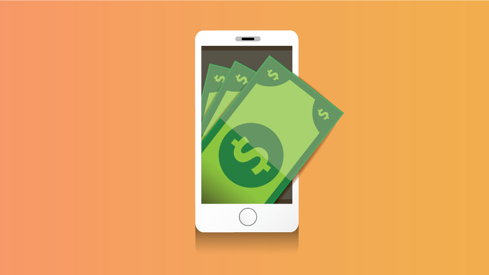 An graphic of dollar bills coming out of a cell phone against an orange background