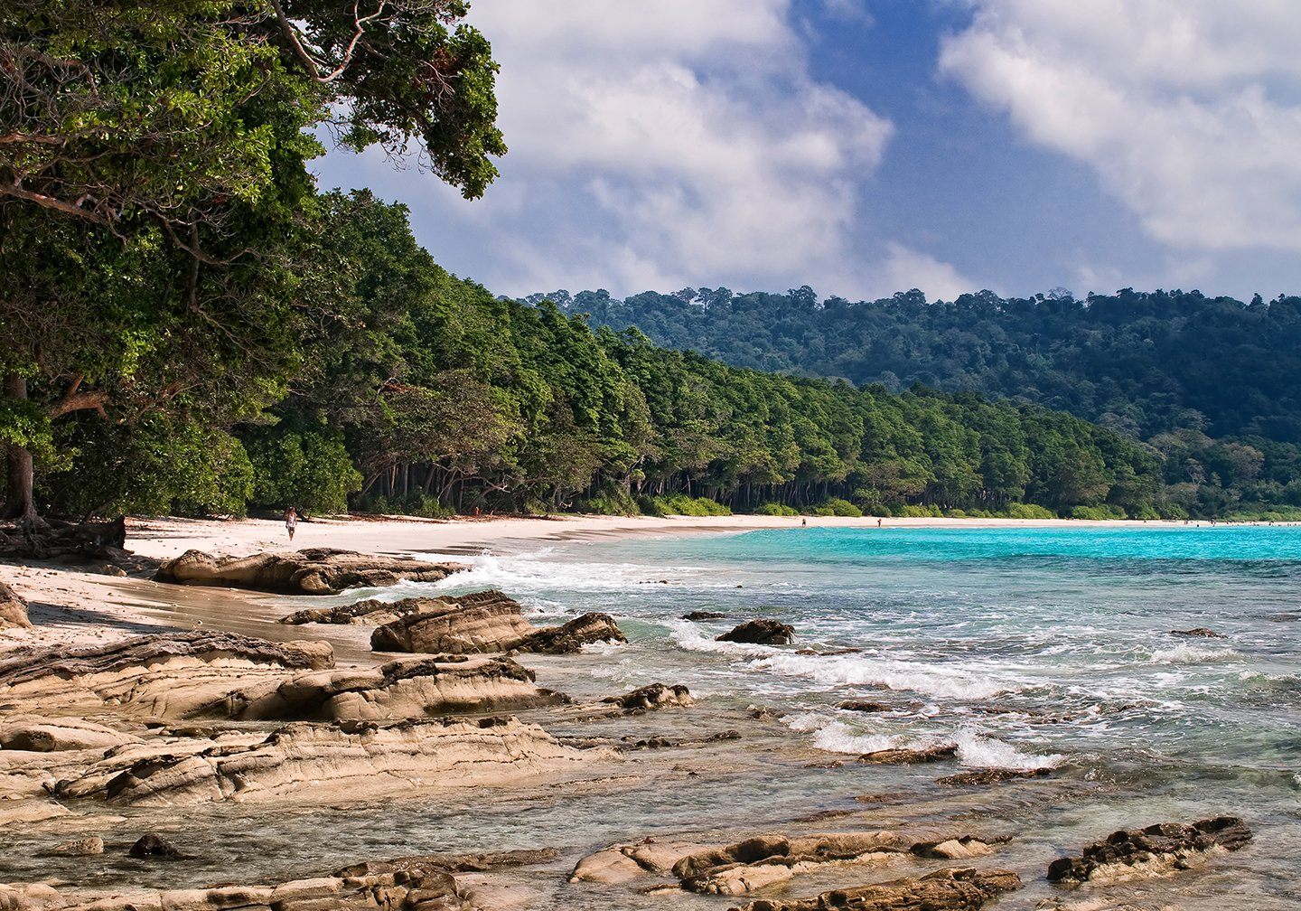 A beach on the Andaman Islands with dense jungle and turquoise sea.