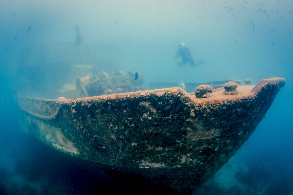 A large shipwreck underwater